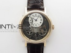 Tradition 7097BR/G1/9WU RG Real PR SF 1:1 Best Edition Silver Skeleton Dial on Black Leather Strap A505