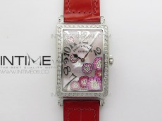 Long Island Ladies SS Diamonds Bezel ZF 1:1 Mother of Pearl Dial on Red Leather Strap Swiss Ronda Quartz