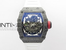 RM035-02 Real NTPT ZF All in one movement 1:1 Best Edition Skeleton Dial on White Rubber Strap V4