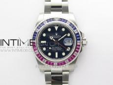 GMT-Master II Red/Blue Diamonds Bezel 904L Steel D1F Best Edition Black Dial On Oyster Bracelet VR3186 CHS