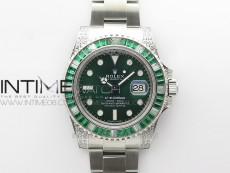 Submariner Green Diamonds Bezel 904L D1F 1:1 Best Edition Green Dial On Oyster Bracelet A2836