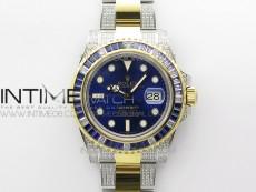 Submariner Blue Diamonds Bezel Dia/YG 904L D1F 1:1 Best Edition Blue Dial On Dia/YG Oyster Bracelet A2836