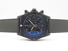 (QC images) Chronomat 44mm Blacksteel V9 1:1 Special Edition Black Dial on Nylon Strap A7750
